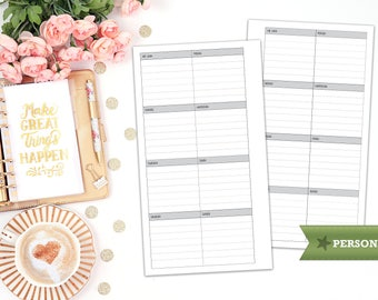 week on 1 page printable planner insert - personal size - print at home - planner refill - WO1P - weekly agenda - undated