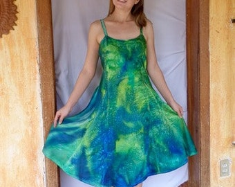 Silk Dress, Green and Teal,Extra Large Dress, Lime Green, Hand Dyed, Charmeuse Silk, 40 Inch Bust, Knee Length, Salsa Silk Dress, Shiny
