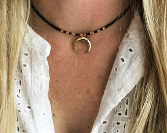 Upside down moon necklace, gold horn necklace, double horn necklace, crescent moon necklace, beaded necklace, boho choker, beaded choker