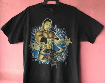 90s The Rock wwf world wrestling federation tshirt
