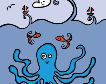 Nautical Octopus Greeting Card