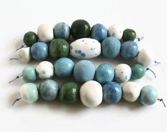 Blue, white, aquagreen, aquamarine ceramic beads, handmade clay beads from Africa, beads, artisan beads, handmade ceramic