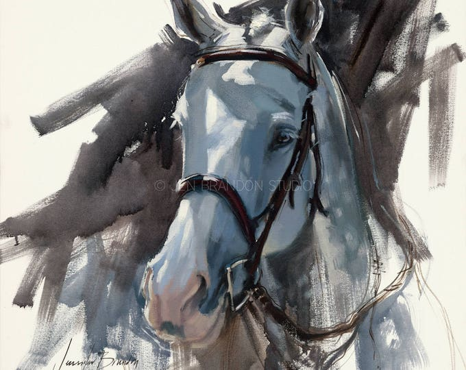 Featured listing image: Gray Horse Portrait Giclée Fine Art Print