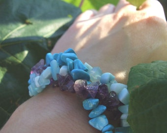 Blue Howlite with Amethyst Bracelet, Blue and Purple Gemstone Bracelet, Big and Bold Gemstone Bracelet