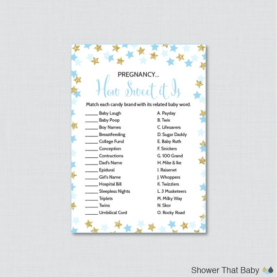 Sweet Sweet Baby Baby Shower Game: Star Baby Shower Pregnancy How Sweet It Is Game Printable