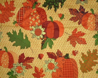 Multicolor Harvest/Fall Pumkins Cotton Fabric by the Half Yard