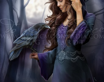 Moonlit Messenger ... Print... Beautiful High Priestess with Raven Messenger... Fantasy Art...