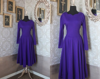 Vintage 1980's Royal Purple Winter Dress with Scalloped Neckline M/ L