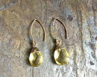 Sterling silver lemon quartz dangle earrings