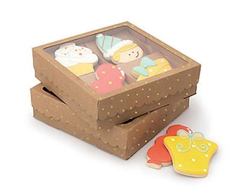 Sweet Sugarbelle Cookie Boxes, Kraft Brown Cookie Boxes, Single Cookie Boxes, Gold Polka Dot Cookie Boxes, Bakery Boxes, Wedding Favor Boxes