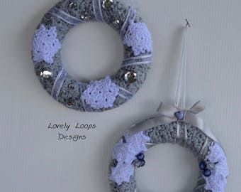 Small Crochet Christmas Wreath Set