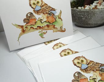 Cute Owl greeting cards watercolor printed 5 x 7 greeting cards everyday cards