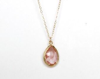 Coral glass teardrop necklace Grapefruit necklace Gold Cherry necklace Translucid coral necklace Coral Bridesmaid Set Grapefruit Bridesmaids