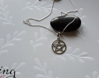 Silver Pentacle star with  chain 14,16, or 18 inch