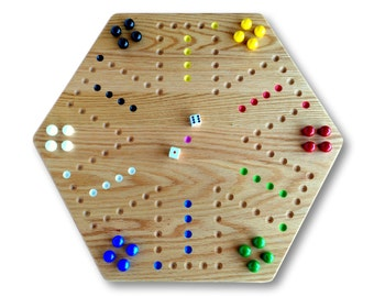 Wooden Double-Sided Hand-Painted Aggravation Board Game, Solid Oak-Wood