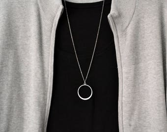 Large Circle Necklace Long Silver Necklace Simple Necklace  Boho Necklace  Layering Necklace  Pendant Necklace