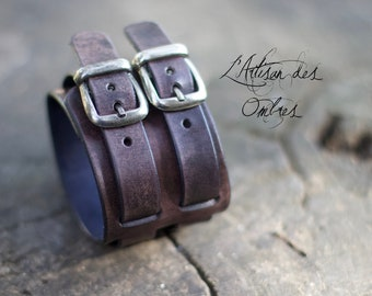 """Leather wristband antic black """"Tancred"""""""