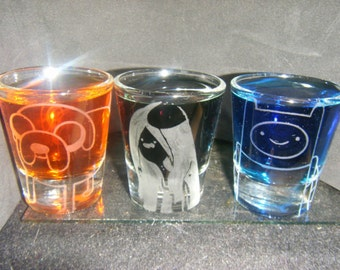 Adventure Time etched shot glass set of 3 fan art