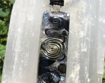 Magic Merlinite, Hematite and Black Tourmaline Orgone Crystal Healing Pendant