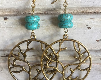Tree of life charm with turquoise