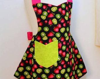 Girls Apron, Reversible Girls Apron in Kiwi and Strawberries Print