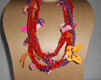 Original colorful textile necklace