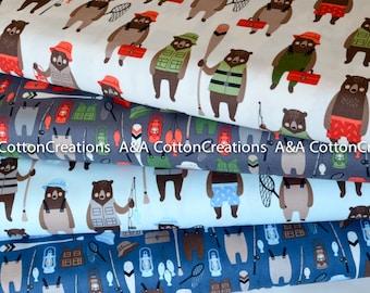 Brawny Bear Flannel Fabric, Blue Flannel Bundle of 4, Fishing fabric, Red Black Plaid, Boy Fabric, Camping Fabric, Robert Kaufman Fabrics