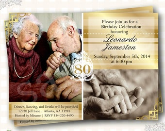 80th Birthday Invitations, Adult Invitation, Golden Invites, 60th Birthday Invitation, Adults Invites, Adult Birthday Invites - Any Age