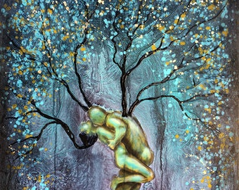Nature Of Passion Tree Wall Art by artist Rafi Perez Original Painting Mixed Medium on Gallery Wrapped Canvas
