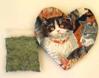 Catnip Heart Toy with Catnip Large  Size Two Cats  Refillable
