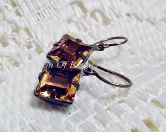 Topaz Vintage Rhinestone Earrings, Swarovski Diamond Drops