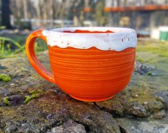 Ceramic mug Cute mug Pottery cup Coffee gift Stoneware mug Ceramic mug handmade Pottery coffee mug Orange mug Unique coffee mug Clay mug