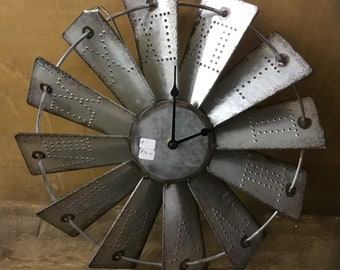 Handcrafted Metal Windmill Clock