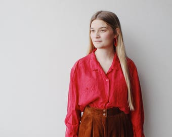 AVERLY  BLOUSE | Vintage red silk blouse | red blouse | silk blouse | ABLE shoppe