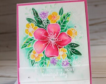 Thinking of You card, OOAK Thinking of You Card, wish you the most beautiful day, Beautiful day Card