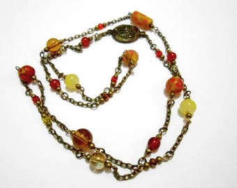 """""""Séréna"""" red yellow orange glass beads and bronze necklace"""
