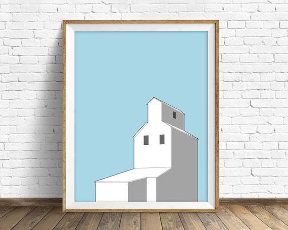 "modern colorful wall art, grain elevator, wall art prints, boys room wall art prints, farmhouse art, large wall art""Country Grain Elevator"""