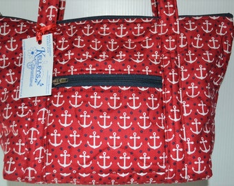 Quilted Fabric Handbag Red with White Anchors and small Navy Stars