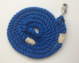 Ultra Soft Royal Blue Cotton Rope Dog Leash