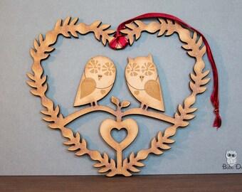 owl heart - owl wreath - love birds wreath