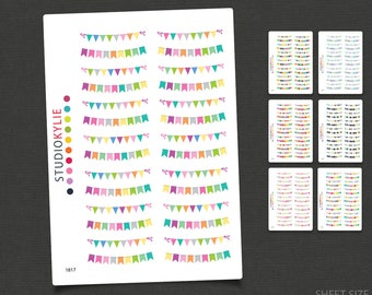 Bunting Stickers  - Planner Stickers - To suit Erin Condren Life Planners and others - Repositionable Matte Vinyl