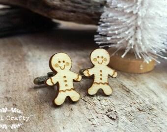 Gingerbread man Wooden Cufflinks Christmas cookie Dad Grooms Best man Groomsman Rustic Wedding Birthday Gift Cuff links