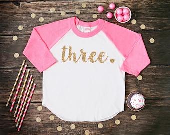 Three Year Old Birthday Shirt | Third Birthday Girl Shirt | 3 Year Birthday Shirt | 3rd Birthday Shirt | Birthday Girl Outfit | Raglan Shirt