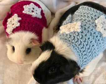 Guinea Pig Clothes, Snowflake Sweater, Christmas Sweater, Guinea Pig Clothing, Skinny Pig Sweater, Cavy Accessories, Hairless Guinea Pig