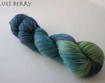 Painted Ladies Sock Yarn, Blues Berry