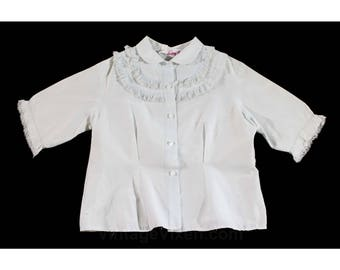 Girl's Size 6 Shirt - 1950s Mid Century Child's Blouse - Pale Blue Cotton with Ruffles - 50's Girls As Is Top for Poodle Skirt - 6X - 49960