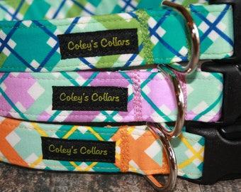 "Dog Collar, Plaid Dog Collar, Girl dog collar, Boy dog collar, ""The Hello Plaid Collection"""