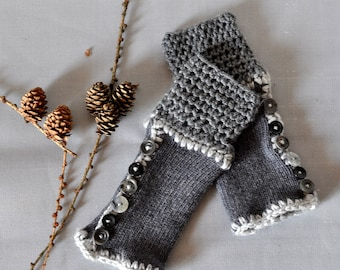 Hand knitted mittens, Knit wool mittens, Fingerless mittens, Grey Knit gloves, Fingerless Gloves, Grey gloves Wool Mittens, hand warmers