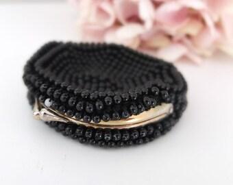 Wallet purse vintage black beads 50's Audrey Hepburn style purse