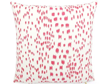 "Brunschwig Fils Les Touches Pink and White Pillow Cover, 18"" 20"" 22"" Square Eurosham or Lumbar, Leopard Animal Print, Spotted Cushion Cover"